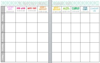 editable  customizable lesson plan template book view