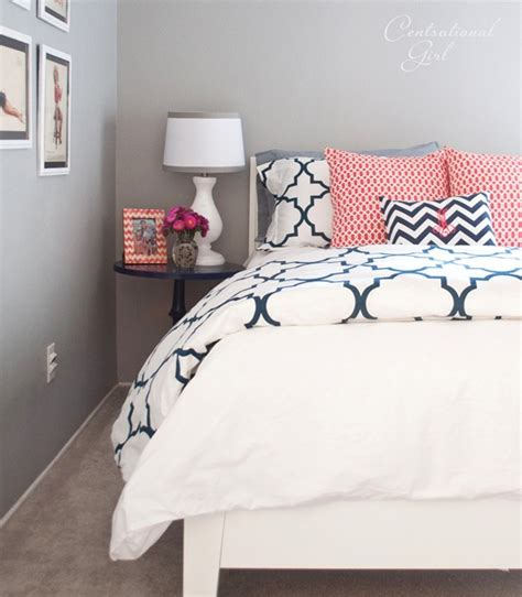 Grey Bedroom With Navy Accents Navy Coral Bedroom Centsational