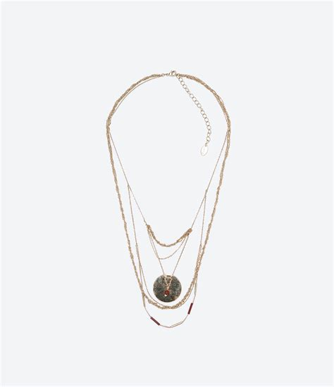 Kalung Zara Claris Necklace Grey zara quot untitled jewels quot collection coin necklace in gray golden lyst