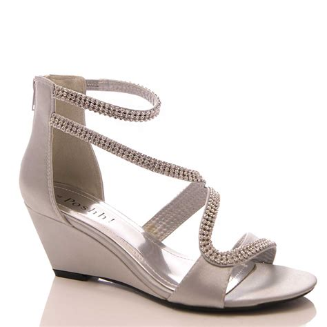 womens low wedge faux satin sandals wedding evening