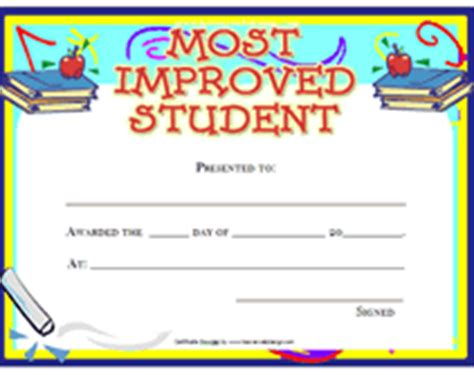 free student certificate templates most improved student award certificate template this