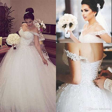 gorgeous crystals sparkly white ball gown wedding dresses