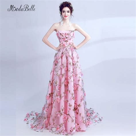 Floral Dress Santai Pink modabelle pink flower evening dress 3d floral prom dress printed backless abito da sera