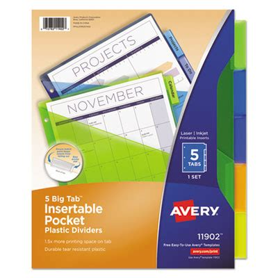 Ave 11902 Avery Insertable Big Tab Plastic Dividers W Single Pockets 5 Tab 11 1 8 X 9 1 4 Avery 11370 Template