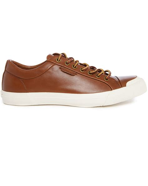 mens brown leather sneakers polo ralph geffrey brown leather sneakers in brown