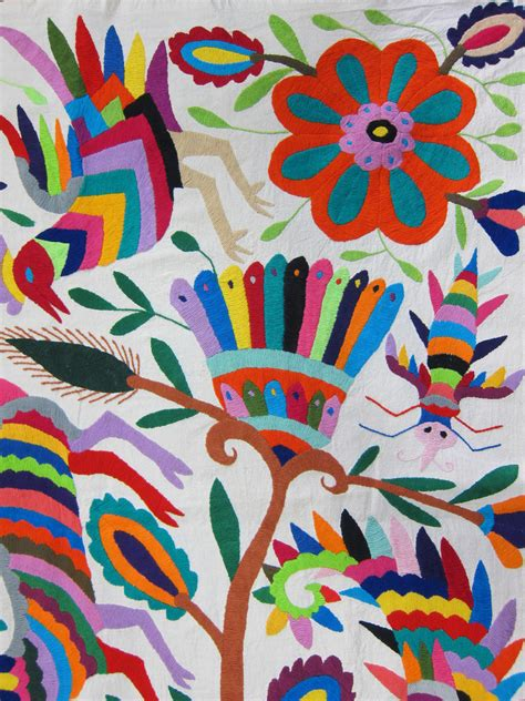 Large Floral Print Upholstery Fabric Mexican Patterns Otomi Fabric And Textiles For Home