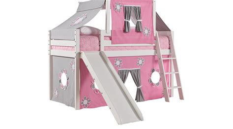 bunk bed with slide and tent pink cottage white jr tent loft bed with slide and top tent