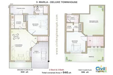 Houses Floor Plans by 3 Marla House Plans Civil Engineers Pk