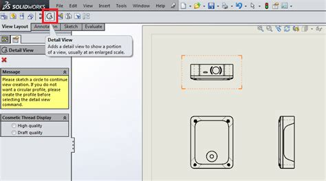 design tab meaning 3 useful types of drawing views in solidworks 12cad com