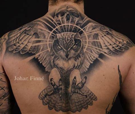 back tattoos for black men black owl s back