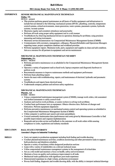 mechanical maintenance technician resume format mechanical maintenance technician resume sles velvet