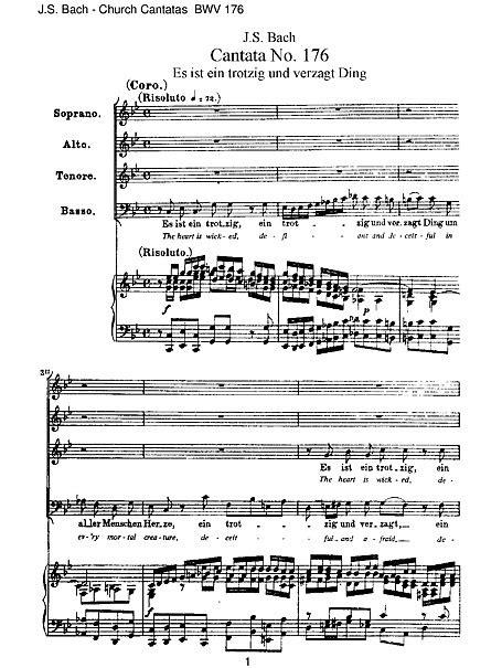 Cantata No. 176 Vocal score - SATB, Piano - Partituras