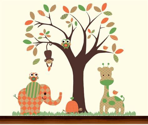 orange and green nursery safari jungle pattern tree and animals set vinyl wall decal etsy
