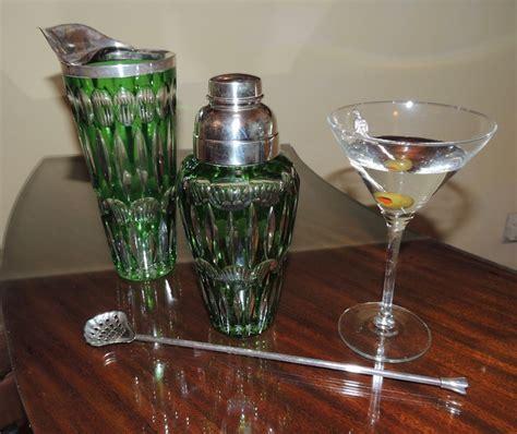 art deco martini bohemian cut glass art deco cocktail shaker set sold