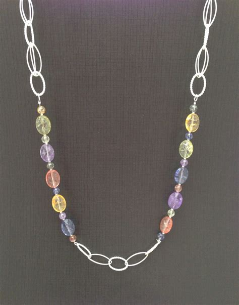 Crackled Glass And Chain Necklace Unique Beaded Jewelry