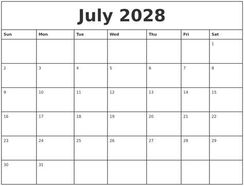 printable july weekly calendar july 2028 printable monthly calendar