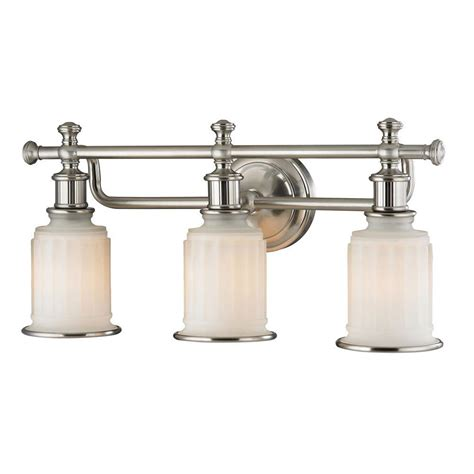 Nickel Bathroom Lights Titan Lighting Kildare 3 Light Brushed Nickel Bath Light Tn 31115 The Home Depot