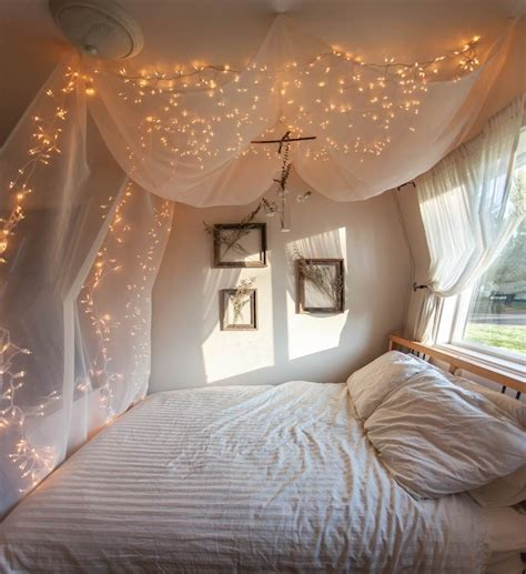 White Hanging Canopy Bed Curtains With String Twinkle White Lights In Bedroom