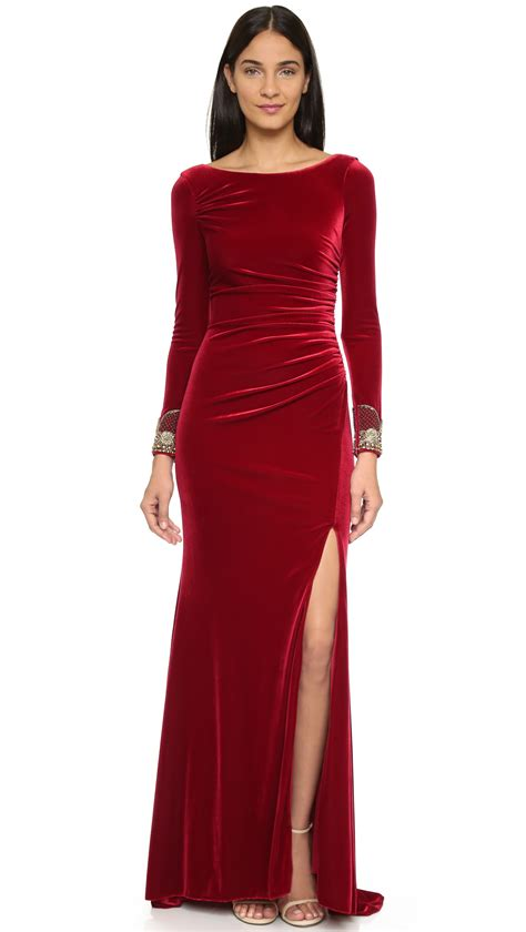 Sleeve Velvet Dress badgley mischka velvet sleeve dress crimson in
