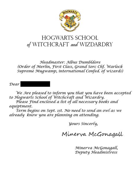 Harry Potter Acceptance Letter Make Your Own Wanted Your Own Hogwarts Letter