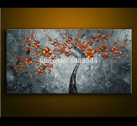 made canvas painting metal copper flowers abstract