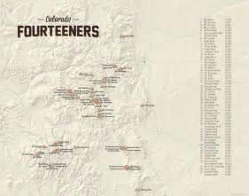 Map Of 14ers In Colorado by Colorado 14ers Map 11x14 Print Tan 021 Ebay