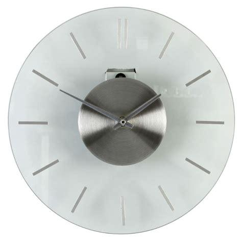 modern wall clocks stainless steel modern style brushed stainless steel glass wall clock ebay