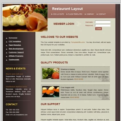 Free Restaurant Web Templates Download Sicek Free Cooking Website Templates