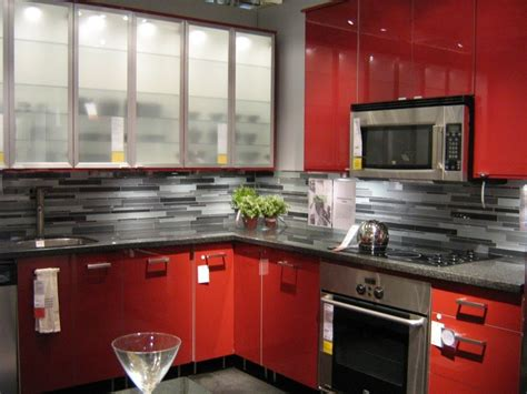 ikea red kitchen cabinets pictures of ikea kitchens bright red glossy cabinets