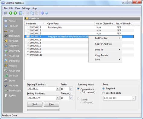 ip and port scanner essential nettools help documentation portscan