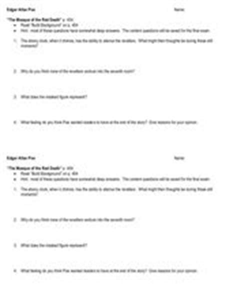 Masque Of The Worksheet by The Masque Of The Reading Guide 9th 12th Grade