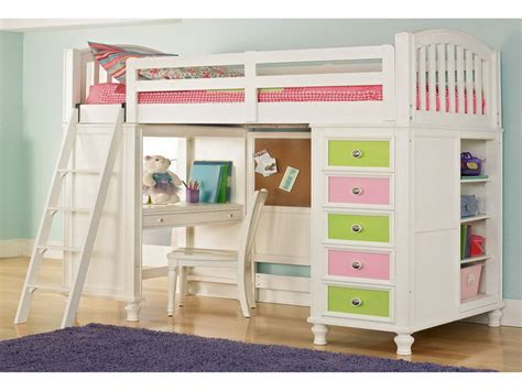 study loft bed bedroom retro loft bed design with colorful drawer