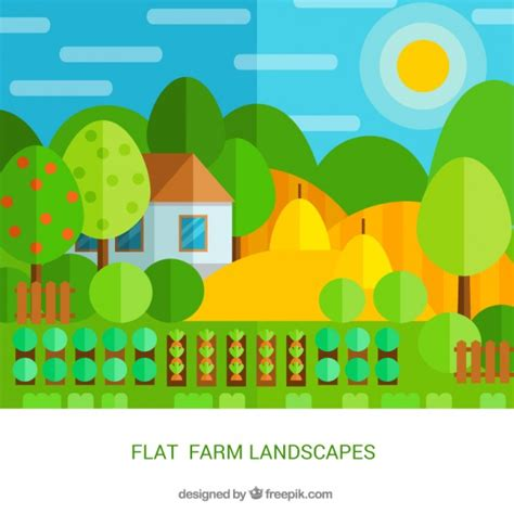 farm layout design software free download farm landscape in flat design with crops vector free