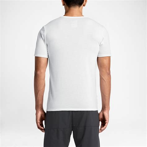 Nike Run Tshirt Black nike mens run dri blend swoosh running t shirt white