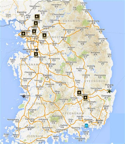 us air bases in korea map us bases in south korea on map