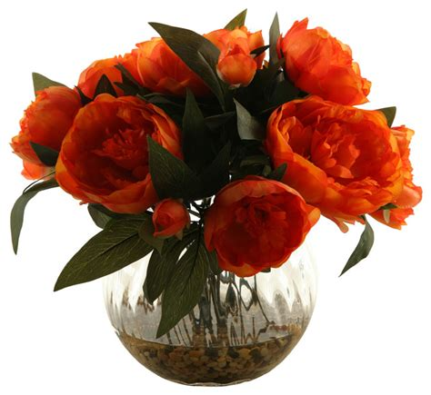 Orange Artificial Flowers In Vase by Artificial Orange Peonies With Glass Vase