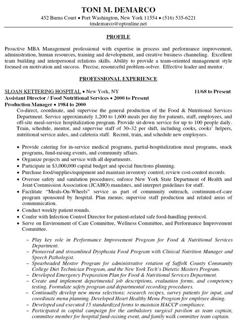 Hospital Director Sle Resume by Sle Resume For Food Service Assistant