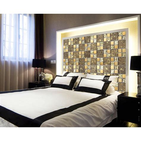 tiled bedroom gold items crystal glass mosaic tile wall backsplashes