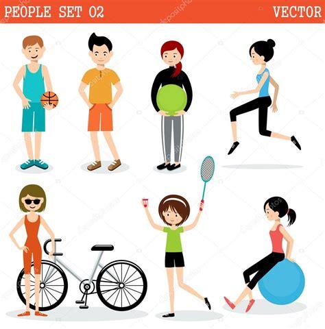 imagenes vectoriales personas conjunto de personas practicando deportes archivo