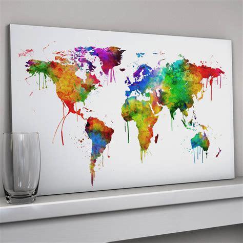 world map canvas art print  artpause