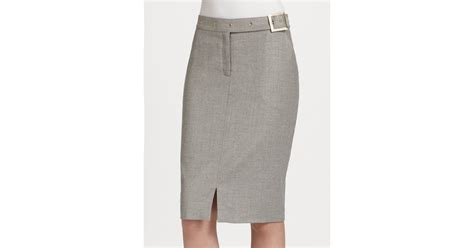 st stretch flannel pencil skirt in gray light grey