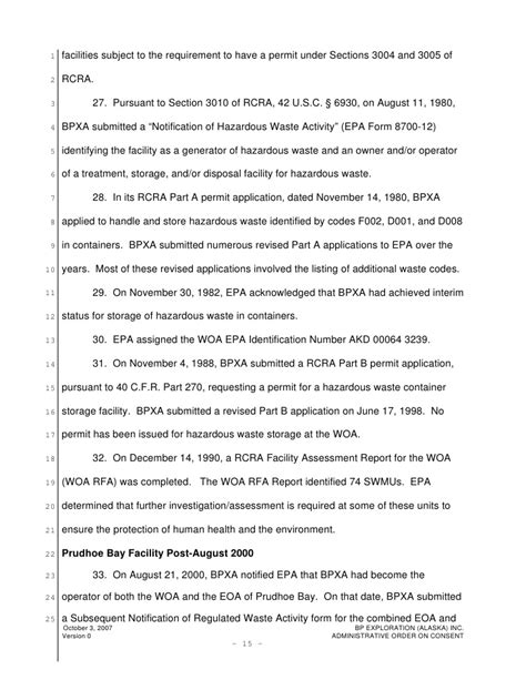 Bp Exploration Prudhoe Bay Site Administrative Order On Consent Epa Form 8700 22 Template