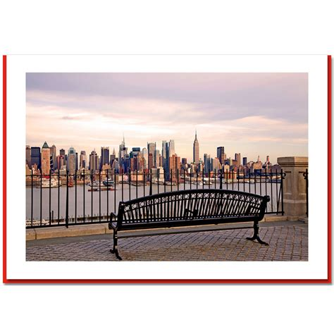 bench nyc view at midtown manhattan from bench ny christmas photo card ny christmas gifts