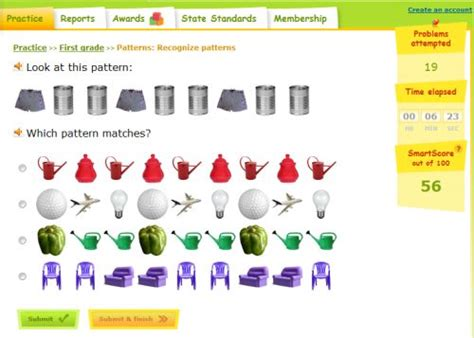 pattern and algebra games pattern game for first grade recognize the pattern