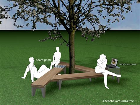 bench tree group scissor rail bench on behance