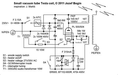 Tesla Coil Schematics Small Vacuum Tesla Coil Vttc Jozef Bogin Jr