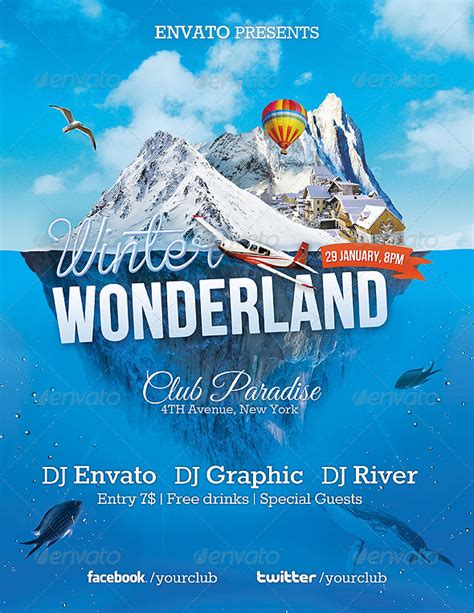 Winter Wonderland Party Event Flyer Template By Overthinking Graphicriver Snowy Flyer Template