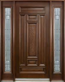 Solid Wooden Front Doors Entry Door In Stock Single With 2 Sidelites Solid Wood With Mahogany Finish Classic