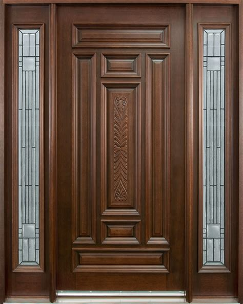 entry door in stock single with 2 sidelites solid wood with mahogany finish classic