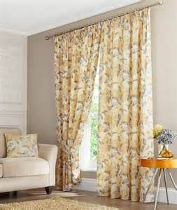 Yellow Floral Curtains Yellow Floral Pencil Pleat Curtains Fully Lined Ebay